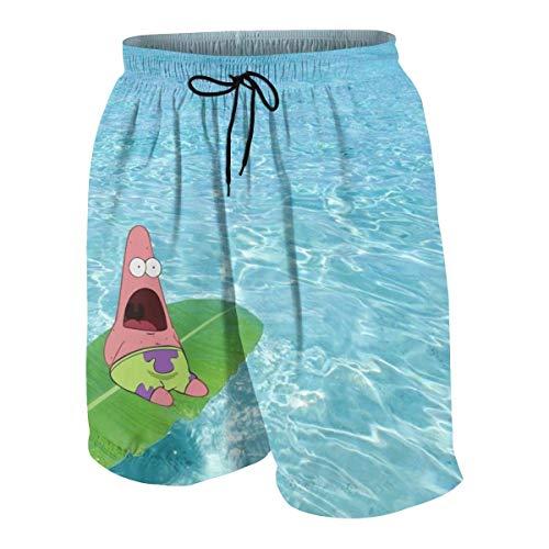 NDNG Badehose Patrick Star auf dem Pool Quick Dry Beach Board Shorts Badeanzug mit Seitentaschen für Teen Boys