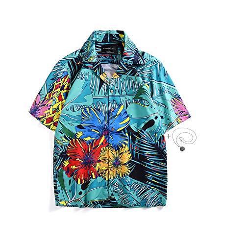 Morbuy Chemise Hawaïennes Homme, 3D Chemises Casual à Manches Courtes Funky Vintage Floral Imprimé Décontracté Tops Chic (M, Bleu)