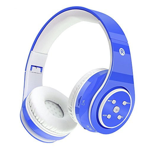 Kids Headphones Safe Volume Limited Kids On Ear Headphones,Wireless/Wired,Long Playing Time 7-9h,SD Card Slot,Stereo Sound,Compatiable for Ipad Cellphone Pc Tablet (Blue)