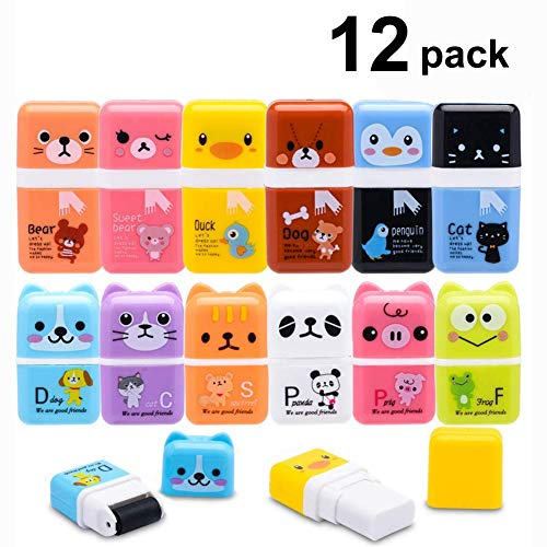 Pencil Erasers, Sooez 12 Pack Cute Erases Pencil Eraser with Clean up Roller Pencil Eraser Shaving Roller Case Erasers for Kids School Party Favors Gift Supplies