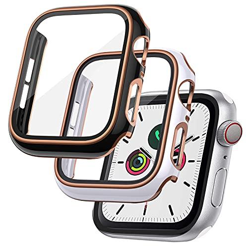 RARF 2-Stück Schutzhülle Kompatibel mit Apple Watch 6/5/4/SE 40mm Panzerglas Schutzfolie, Hülle mit Glas Bildschirmschutz, Vollständige Abdeckung Hard PC Kratzfest HD Superdünne Hülle für iWatch 6/5/4/SE