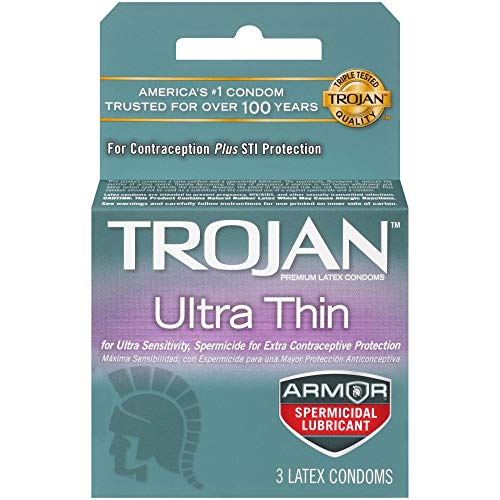 Trojan Condom Sensitivity Ultra Thin Spermicidal, 3 Count