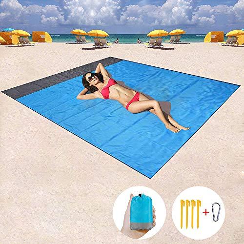 AcserGery 145 x 200 cm Picknickdecke Campingdecke Outdoor Decke mit Weiches Nylon Tasche und 4 Pfähle, Wasserdicht, Schnell trocknend, Ultraleicht, Tragbar Sandfreie Strandmatte