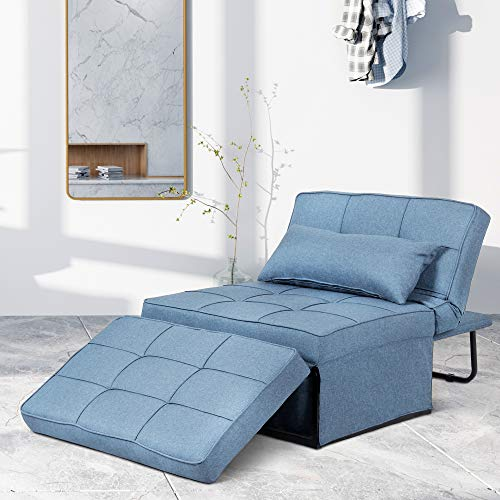 Saemoza Sofa Bed, 4 in 1 Multi Function Folding Ottoman Sleeper Bed, Modern Convertible Chair Adjustable Backrest Sleeper Couch Bed for Living Room/Small Apartment, Light Blue