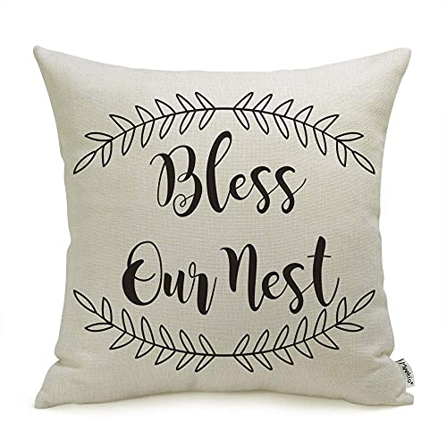 """Meekio Farmhouse Pillow Covers with Bless Our Nest Quotes 18"""" x 18"""" Farmhouse Decor Housewarming Gifts"""