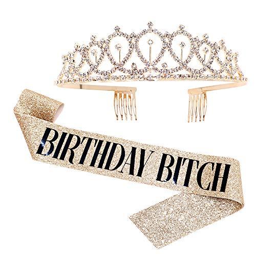 Birthday Bitch Sash & Rhinestone Tiara Kit - Gold Glitter Birthday Gifts Birthday Sash for Women Birthday Party Supplies