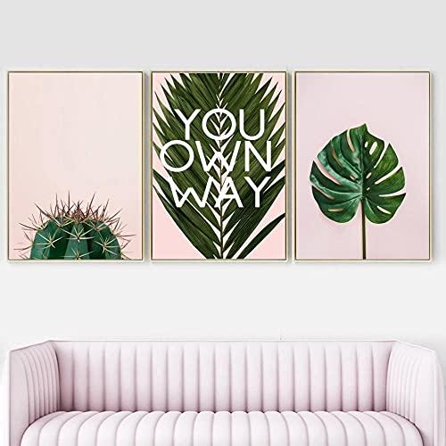 Cactus tropical Monstera Hoja de palma Planta Arte de la pared Pintura en lienzo Carteles e impresiones nórdicos Cuadros de pared para sala de estar-40X60X3 piezas Sin marco
