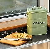 KitchenCraft Living Nostalgia Küchenkomposteimer aus Metall, Stahl, grün - 7