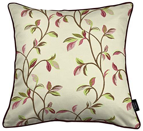 McAlister Textiles Annabel Housse de Coussin de Tapisserie   Ensemble de Taies d'oreiller pour Sofa, Canapé et Lit - Feuilles Rouge Cerise   Proportion - 40x40cm
