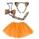 Lizzy Kids Tiger Tutu Costume Fancy Dress Halloween Tutu Ears Animal Accessory Set (Full Tiger Costume Set)