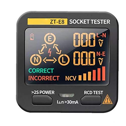 nJiaMe Socket probador Digital de Voltaje Integrado Detector LCD Socket Inspector Analizador de Circuito Eléctrico Línea del Inspector de Fallos de Alta precisión