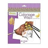 Avenue Mandarine GY093C - Un carnet à spirale Wild 28 pages imprimées à colorier 20x20 cm (14 designs x 2) 250g, Wild 4