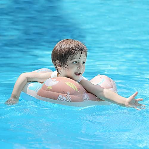 Free Swimming Baby Flotador inflable de natación para bebés ayuda al bebé a aprender a patar y nadar con un seguidor inflado para la edad de 3 a 36 meses (rosa, S)