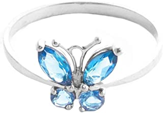 💎Galaxy Gold💎 High Polished 14k Solid White Gold 0.6 ctw Blue Natural Topaz Butterfly Ring