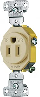 Hubbell Wiring Systems RR151IWRTR Trade Select Single Receptacle Straight Blade, Weather and Tamper Resistant, 2-Pole, 3-Wire Grounding, 5-15R, 15 Amp, 125V, Ivory