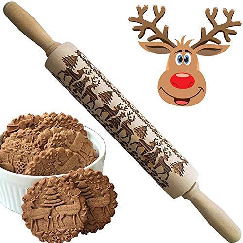 Navidad Rodillo Amasar,Perno de Balanceo,Navidad Rolling Pin Grabado en Madera,Rodillo de Cocina...