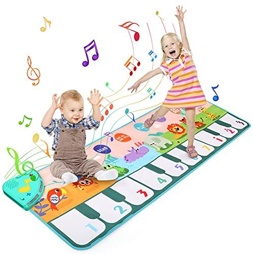 Ballery Tappeto Musicale per Bambini, Tappeto Pianoforte Musicale, Tastiera Tappeto Musicale Tappetino da Ballo per Musica 8 Suoni, Piano Mat Educativo Giocattolo per Bambini 1 a 5 Anni (110 x 36cm)