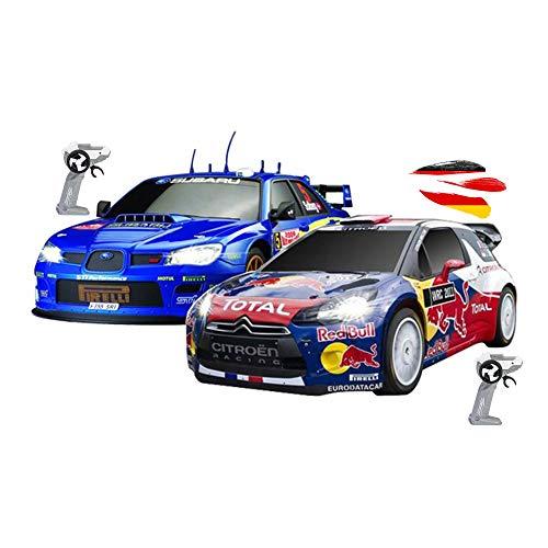 Himoto HSP 2 coches teledirigidos con diseño oficial compatible con Subaru vs Citroen WRC, vehículo para emocionantes duelle, coche modelos con iluminación incluida mando a distancia.