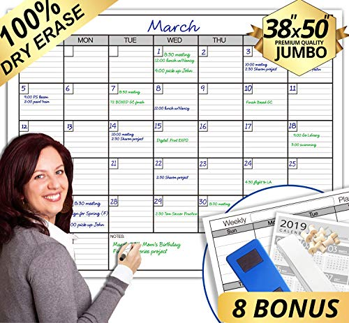 "Dry Erase Monthly Large White Board Wall Calendar, 38"" x 50"", Jumbo Laminated Erasable Month whiteboard, Huge 30 Day Planner"
