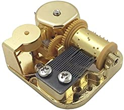 Golden 18 Note Sankyo Music Box Movement with Cover and Spare Key (A Dream is a Wish Your Heart Makes)