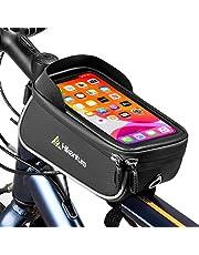 HIKENTURE Fietsframetas, waterdichte fietstas met telefoonhouder op het frame/bovenbuis, ideaal fietsaccessoire als bovenbuistas, MTB-telefoontas voor alle iPhone-series en mobiele telefoons tot 6,5 inch