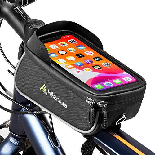 HIKENTURE Fahrrad Rahmentasche, Wasserdicht Fahrradtasche mit Handyhalterung am Rahmen/Oberrohr, Ideales Fahrrad Zubehör als Oberrohrtasche, MTB Handytasche für alle iPhone-Serie&Handys bis 6,5 Zoll