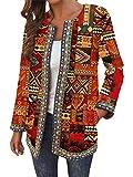 ORANDESIGNE Chaquetas Mujer Clásico Abrigos Talla Grande Abrigo de Manga Larga Vintage Estilo étnico Señoras Estampado Floral Abrigos con Bolsillos D Rojo 3XL