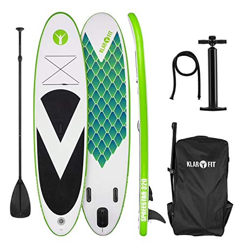 KLAR FIT Spreestar 320 - Tabla de pie Hinchable, Paddleboard, Paddle Surf, Tabla Sup 320 x 12 x 81 cm, Bomba Aire, Pala, Correa Seguridad, Mochila Transporte, Verde