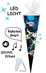 alles-meine.de GmbH Sound Modul & LED Licht Effekt ! - Schultüte - Weltraum - Space - 70 cm - rund - Filzabschluß - Zuckertüte - mit / ohne Kunststoff Spitze - für Jungen - R..