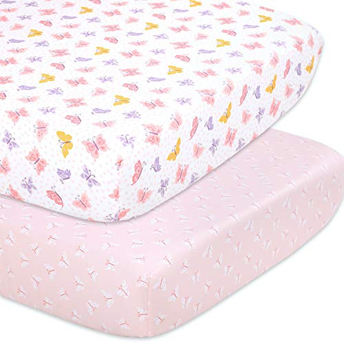 The Peanutshell Butterfly Fitted Crib Sheet Set for Baby Girls - 2 Pack - Pink, Gold, & Lavender
