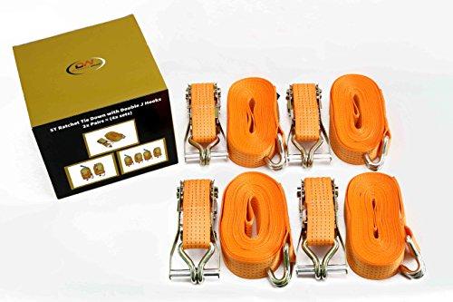 4 x Spanngurte von DiversityWrap, 5 Tonnen, 9 m x 50 mm, Eisengriff und Doppel-J-Haken, 5000 kg, Gurtband