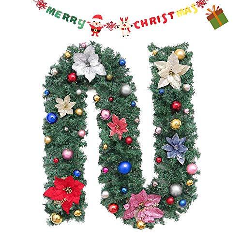 Enhome Weihnachtsgirlande mit Beleuchtung, Tannengirlande Weihnachtsdeko Weihnachtstürdekor für Innen und Außen Verwendbar mit 8 Modus Lichterkette (2.7M=106inch,Bunt)
