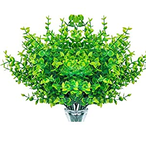 Ouddy 8 Pack Artificial Fake Plants & Flowers,Artificial Greener for Home,Wedding, Garden,Office, Kitchen,Patio and Indoor Outdoor Decoration