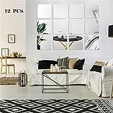 SeaNpem Lot de 12 autocollants muraux amovibles pour décoration murale Motif miroir, Plastique, 20 cm