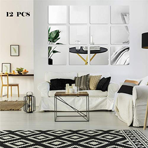 seaNpem Mirror Wall Stickers Decoration, 12 Pcs DIY Removable Square Wall Stickers Art Wall Decals, Best for Home Living Room Bedroom Sofa TV Office Restaurant Aisle Wall Decoration Murals (20CM)