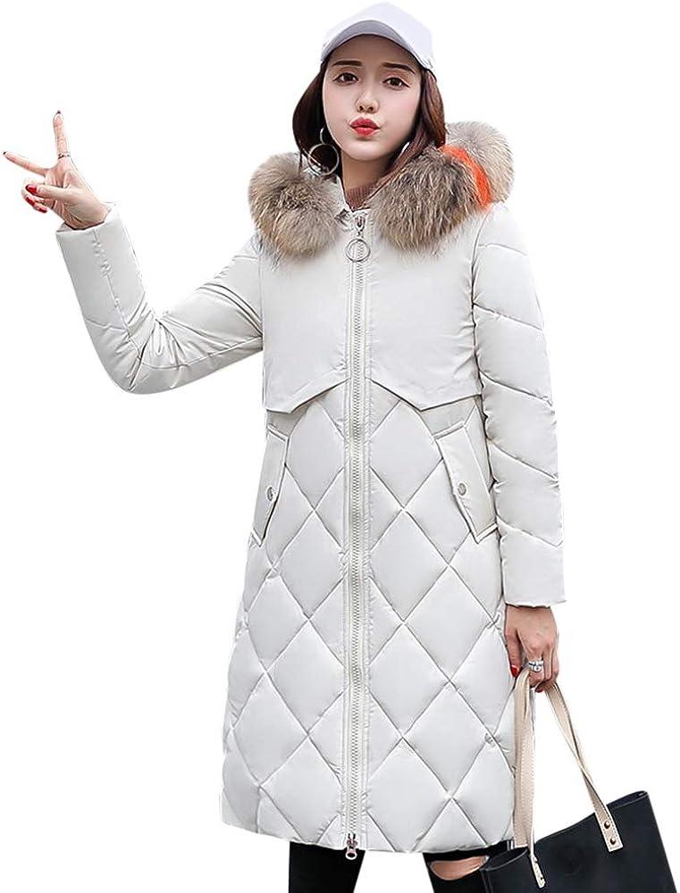 JMSUN Hot Women Winter Down Long Coat Hoodie Thicken Coat Long Sleeve Solid Big Fur Collar Cotton Outerwear