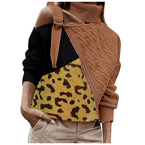 Sudadera para mujer con estampado de leopardo de arena suelta, con costuras de color de manga larga, cuello alto, unilateral, fuera de los hombros, suéter de punto, blusa túnica, marrón, XXX-Large