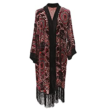 Women Velvet Burnout Kimono Cardigan - Big Floral Casual Coverup Outfit Cover Up with Fringe Maxi Dress Poncho Robe