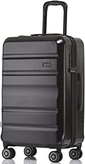 QANTAS Melbourne 78cm 4 Wheel Trolley Suitcase, (Black), (QF970-78-A)
