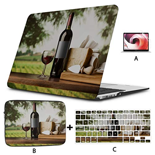 A1706 Macbook Pro Case Bottle Wine And Grape On Table Mac Book Pro Accessories Hard Shell Mac Air 11'/13' Pro 13'/15'/16' With Notebook Sleeve Bag For Macbook 2008-2020 Version