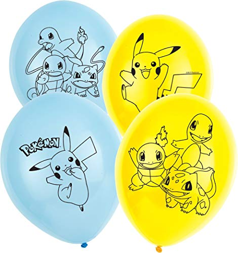 Amscan International 9904826 Pokemon Amscan - Globo de látex (27,9 cm, 4 caras, 6 unidades)