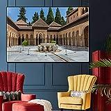 Puzzle 1000 piezas Pintura de paisaje de arquitectura española Palacio de la Alhambra Pintura de callejón diagonal Palacio Real de Madrid puzzle 1000 piezas Gran ocio vacacion50x75cm(20x30inch)