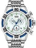 Relojes de cuarzo para hombre, cronógrafo, calendario, cronógrafo, correa de acero, reloj de cuarzo, resistente al agua, reloj de negocio, color blanco plateado