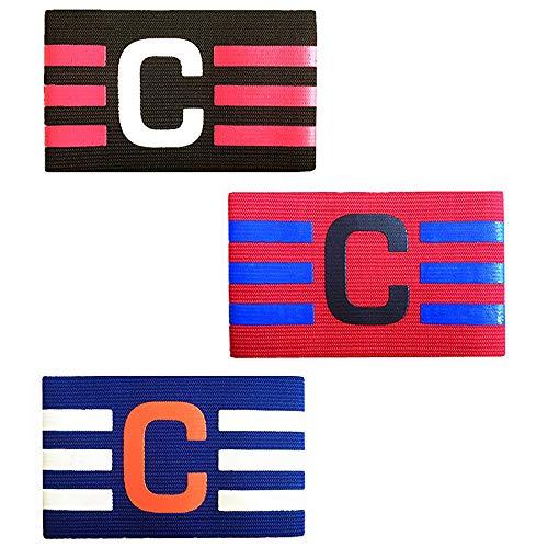YQ 3 Pezzi Multicolor Calcio Capitano Armband, per Senior/Junior Calcio Sport Capitano Fascia per Adulti/Giovani Calcio Grande C Blu/Nero/Rosso