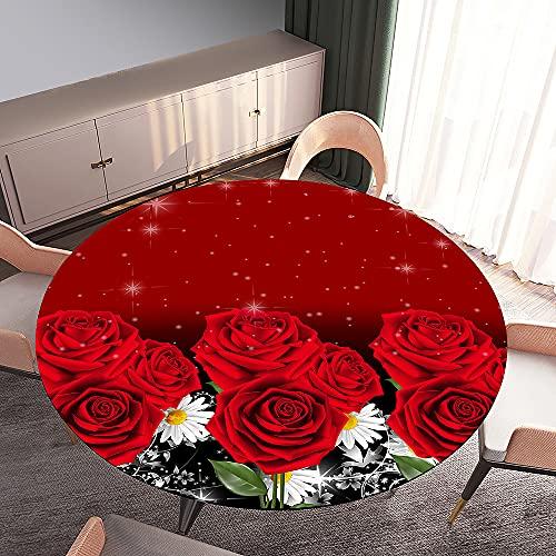 Fansu Impermeable Redondo Mantel con Borde Elástico, 3D Impresión Mantel de Mesa Elástica Ajustada Cubierta de Mesa para Picnic Comedor Cocina Restaurante Cena (Rosa roja,200cm)