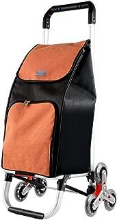 Shopping Trolleys Shopping Cart Shopping Trolley Aluminum Folding Handcart Home Large Capacity Lightweight Climbing Shopping Cart (Color : Brown, Size : 32 * 38 * 91cm)