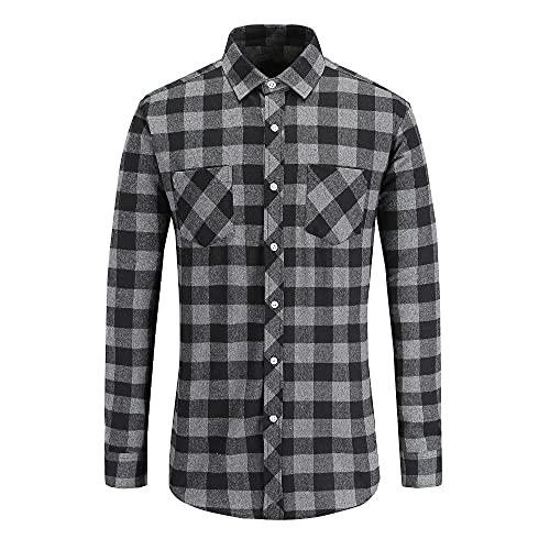 N\P Camisa de los hombres Otoño Camisa de manga larga a cuadros