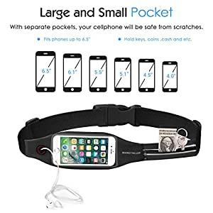 Rhino Valley Running Belt Waist Pack, Sports Fanny Pack Fitness Workout Belt, Water Resistant Dual Pockets with Clear Touch Screen Compatible with iPhone 11/11 Pro Max/X/8, Galaxy Note 10/S20