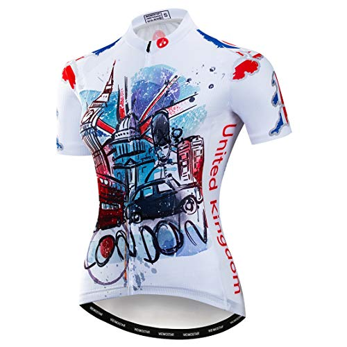 weimostar Cycling Jersey Women Mountain Bike jersey Shirts Short Sleeve Road Bicycle Clothing MTB Tops Summer Outdoor Sports Wear Blue UK Size XL