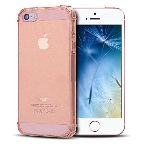 Anfire Funda iPhone 5 / 5S Silicona Case de Suave y Transparente Carcasa, Flexible Gel TPU, Ultra Ligero [Esquinas Reforzadas] Bumper Caja Claro Blando Caso Cubierta Trasero - Oro Rosa